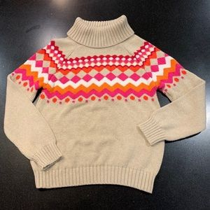 Gymboree Turtleneck Sweater Girls 7/8 Tan Red Pink